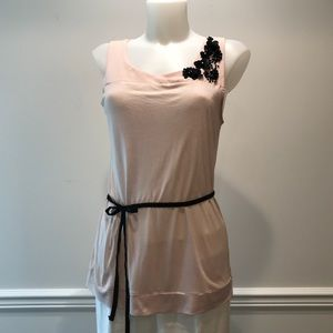 Sweet H&M pink with black flowers and belt blouse.